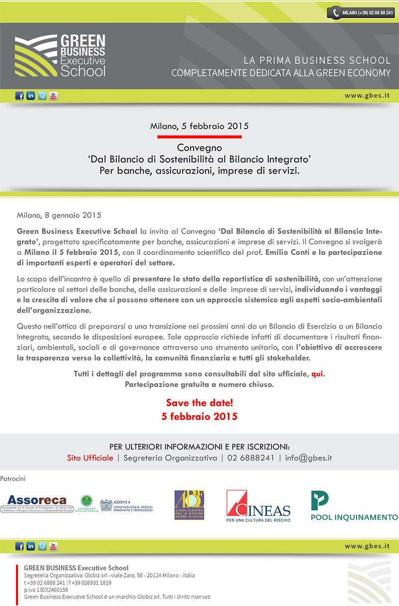 Locandina Convegno 'Dal Bilancio di Sostenibilità al Bilancio Integrato'
